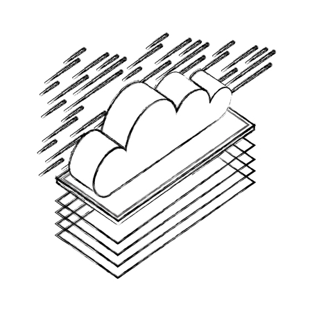 cloud computing isometric storage data vector illustration Banco de Imagens - 111663388