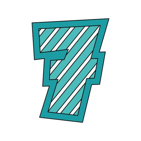 number seven comic style vector illustration design Illustration