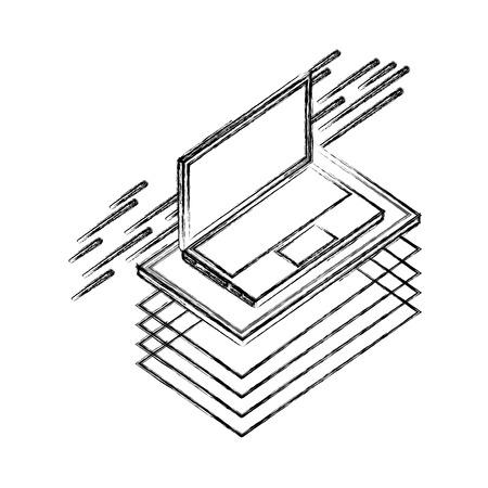 laptop computer isometric device digital technology vector illustration