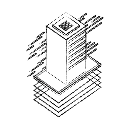 database server isometric storage information technology vector illustration Ilustração
