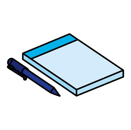 notebook school with pen vector illustration design