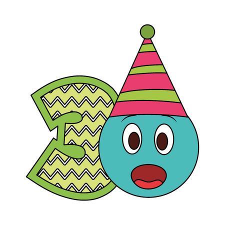 number three with emoji kawaii character vector illustration design