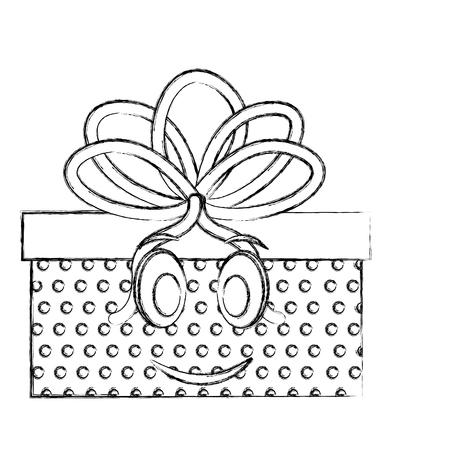 gift box present kawaii character vector illustration design