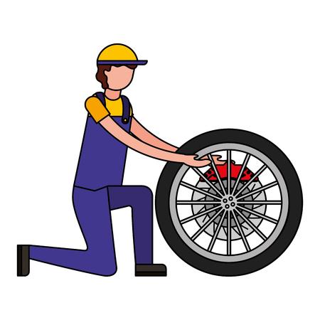 mechanic with brake disc engine part vector illustration design