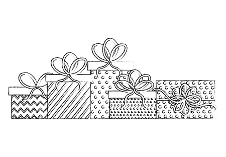 set gift boxes present icon vector illustration design Illustration