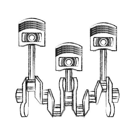 set pistons engine pieces vector illustration design