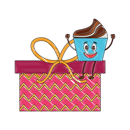birthday kawaii cupcake on gift surprise party vector illustration Ilustração