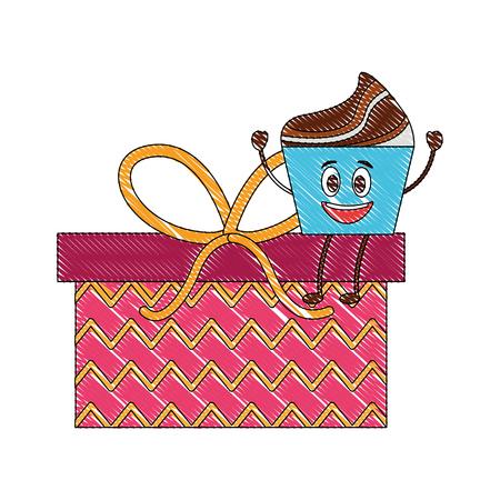 birthday kawaii cupcake on gift surprise party vector illustration Illustration