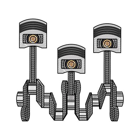 pistons crankshaft internal combustion engine automotive industry vector illustration Illustration