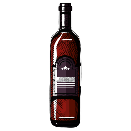 wine bottle drink icon vector illustration design  イラスト・ベクター素材