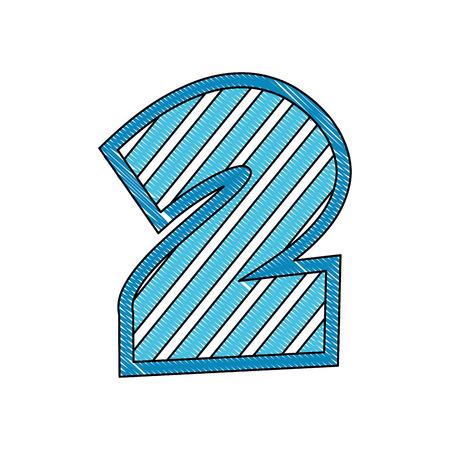 decorated two number font figure creative image vector illustration Illustration