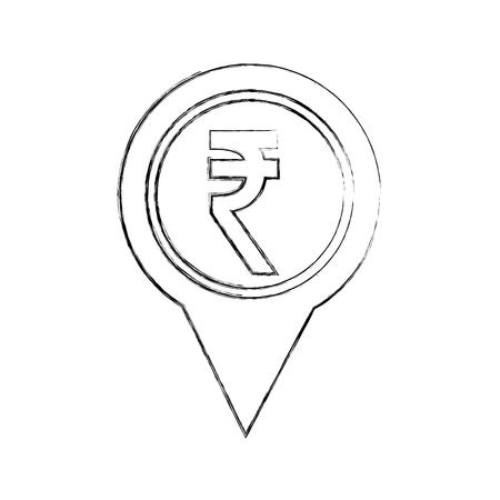 rupee coin currency money pointer location vector illustration Ilustração