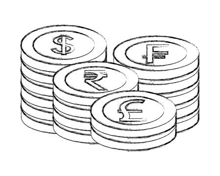 stacked coins currency world money vector illustration Foto de archivo - 111663469