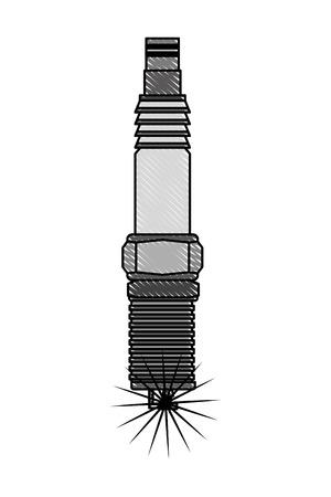 auto part spark plug motor automobile engine vector illustration