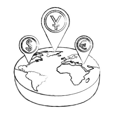 world isometric pointer location dollar yen euro money vector illustration