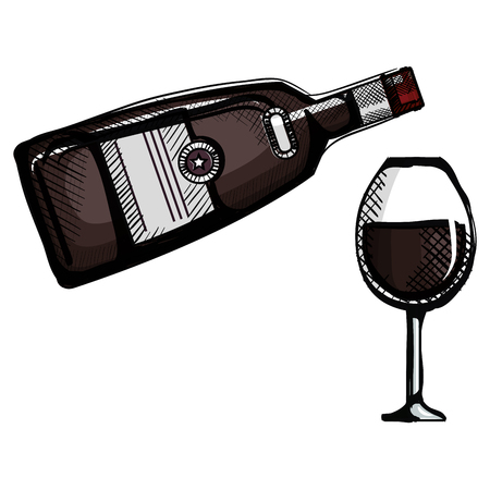 whiskey bottle with cup vector illustration design 版權商用圖片 - 107069145