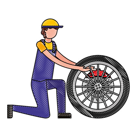 mechanic industry automotive with wheel brake car vector illustration