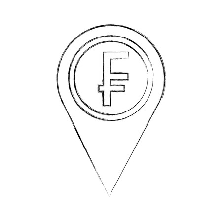 swiss franc coin currency money pointer location vector illustration