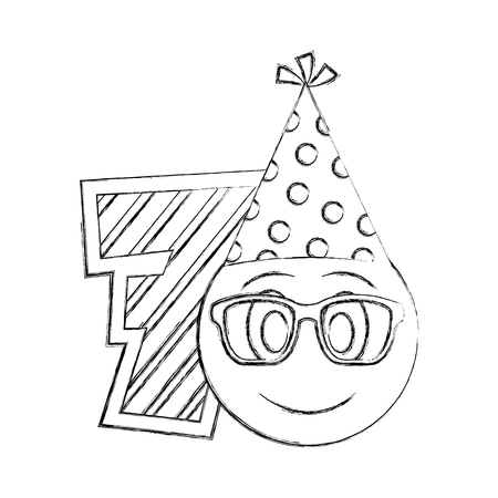 number seven with emoji kawaii character vector illustration design