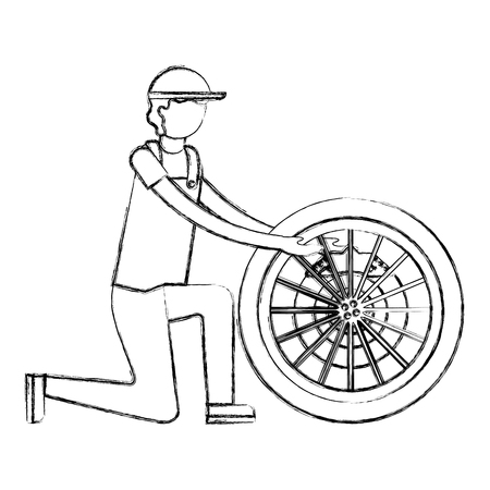 mechanic with brake disc engine part vector illustration design