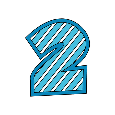 number two comic style vector illustration design