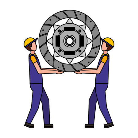 mechanics lifting clutch plate engine part vector illustration design Ilustração
