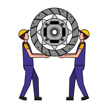 mechanics lifting clutch plate engine part vector illustration design Illustration