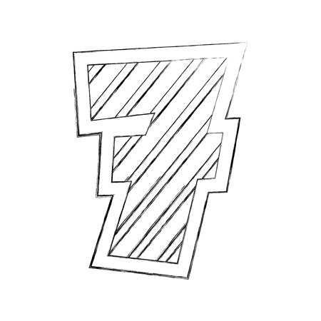 number seven comic style vector illustration design