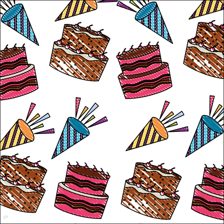 birthday cakes with candles and sprinkles decoration pattern vector illustration  イラスト・ベクター素材