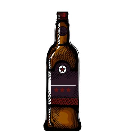 Bouteille de whisky verre icône vector illustration design