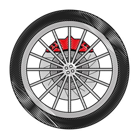 car wheel with disk brake industry automotive vector illustration