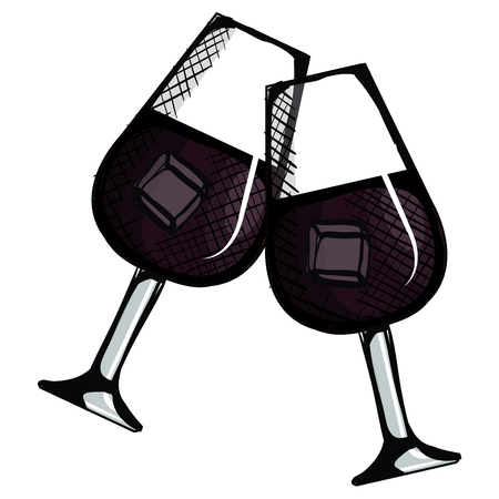 toast with wine glasses vector illustration design