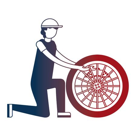 mechanic industry automotive with wheel brake car vector illustration neon