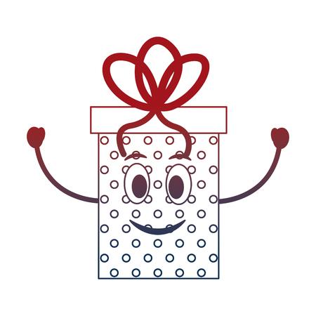 birthday kawaii gift box happy character party vector illustration neon