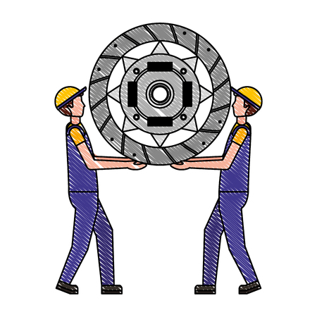 worker mechanics with automotive clutch disc service repair vector illustration