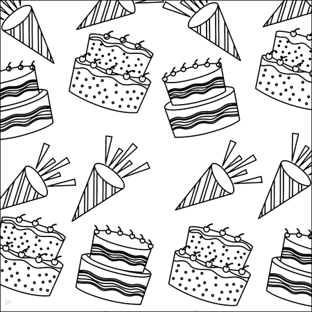 birthday cakes with candles and sprinkles decoration pattern vector illustration monochrome Illustration