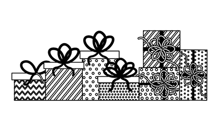 birthday party celebration wrapped gift boxes vector illustration monochrome