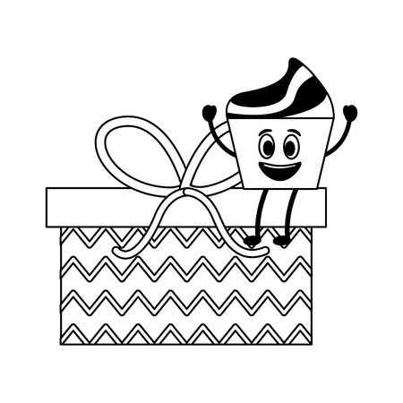 birthday kawaii cupcake on gift surprise party vector illustration monochrome Ilustração