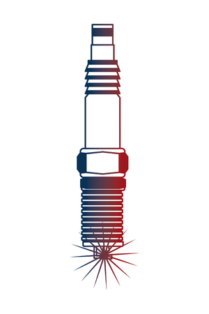 auto part spark plug motor automobile engine vector illustration neon