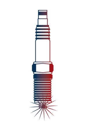 auto part spark plug motor automobile engine vector illustration neon