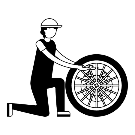 mechanic industry automotive with wheel brake car vector illustration monochrome Illustration