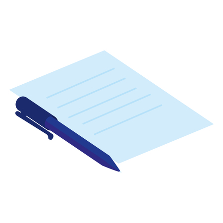 document paper with pen vector illustration design