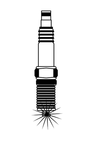auto part spark plug motor automobile engine vector illustration monochrome