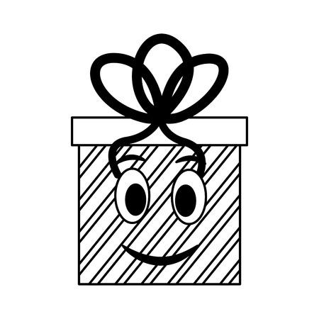 birthday kawaii gift box happy character party vector illustration monochrome