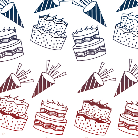 birthday cakes with candles and sprinkles decoration pattern vector illustration neon Illustration