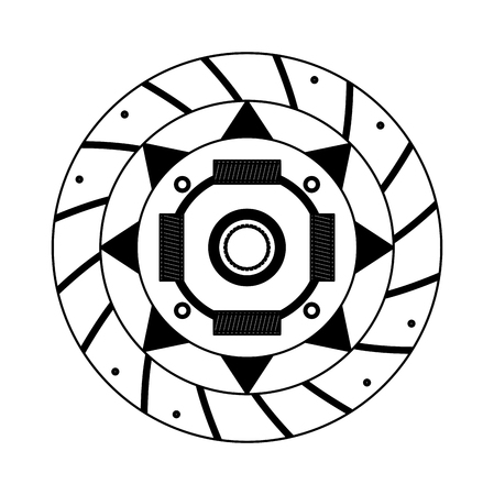 clutch plate auto spare part vector illustration black and white