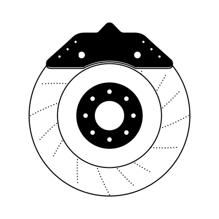 brake disc auto spare part mechanic system vector illustration black and white