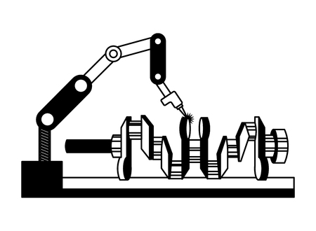 automotive part camshaft with robotic arm vector illustration black and white
