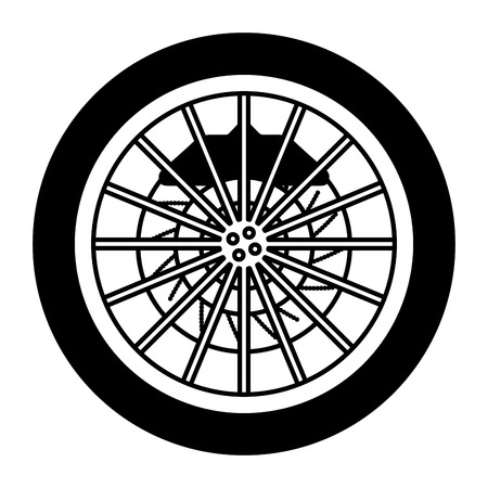 car wheel with disk brake industry automotive vector illustration monochrome