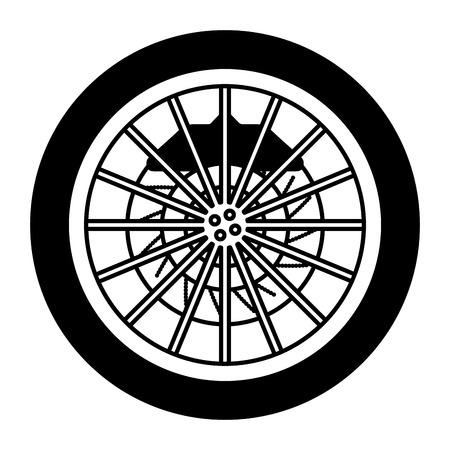 Roue de voiture avec frein à disque industrie automobile monochrome illustration vectorielle